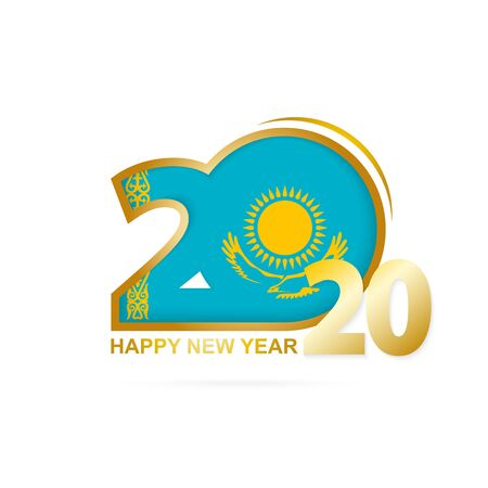 Year 2020 with Kazakhstan Flag pattern. Happy New Year Design. Vector Illustration. 일러스트