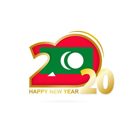 Year 2020 with Maldives Flag pattern. Happy New Year Design. Vector Illustration. Imagens - 128339206