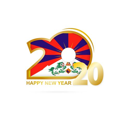 Year 2020 with Tibet Flag pattern. Happy New Year Design. Vector Illustration. Imagens - 128630055