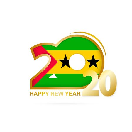 Year 2020 with Sao Tome and Principe Flag pattern. Happy New Year Design. Vector Illustration.