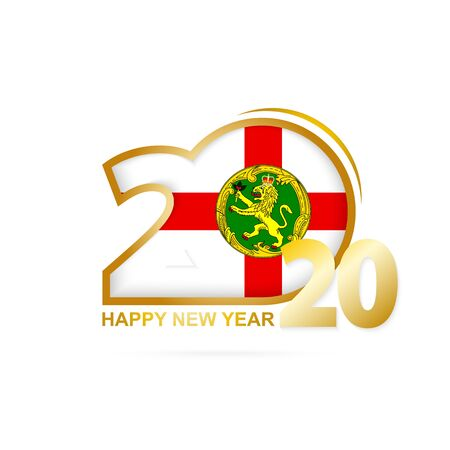 Year 2020 with Alderney Flag pattern. Happy New Year Design. Vector Illustration.