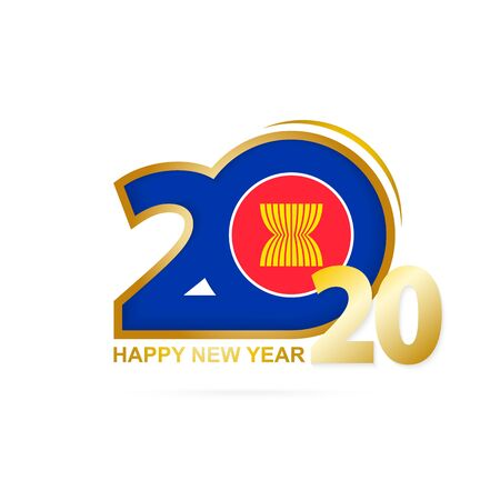 Year 2020 with ASEAN Flag pattern. Happy New Year Design. Vector Illustration. Ilustração