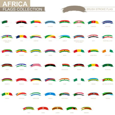 Rounded grunge brush stroke with African flags. Set of vector flags.