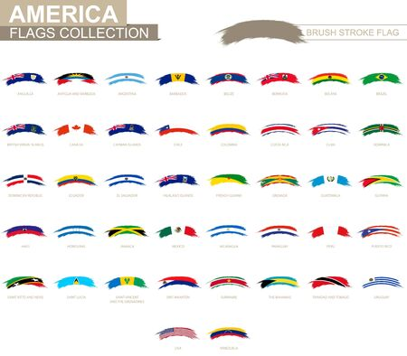Rounded grunge brush stroke with American flags. Set of vector flags.