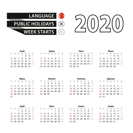 2020 calendar in Turkish language, week starts from Sunday. Vector Illustration.
