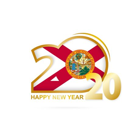 Year 2020 with Florida Flag pattern. Happy New Year Design. Vector Illustration. Ilustração