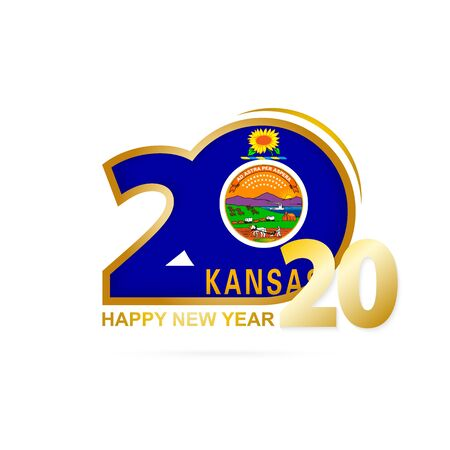 Year 2020 with Kansas Flag pattern. Happy New Year Design. Vector Illustration.