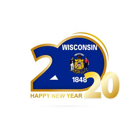 Year 2020 with Wisconsin Flag pattern. Happy New Year Design. Vector Illustration.