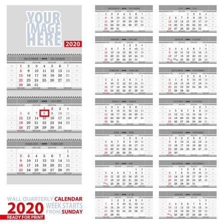Wall quarterly calendar 2020. Week start from Sunday, ready for print. Vector Illustration.