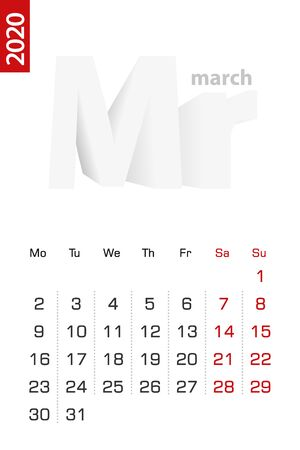 Minimalist calendar template for March 2020, vector calendar in English. Vector calendar for 2020.