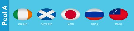 5 flags in the style of a Rugby ball. Flags of the nations participating in Rugby 2019, pool A. Vector flags. Ilustração