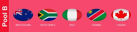 5 flags in the style of a Rugby ball. Flags of the nations participating in Rugby 2019, pool B. Vector flags. Ilustração