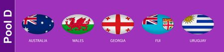 5 flags in the style of a Rugby ball. Flags of the nations participating in Rugby 2019, pool D. Vector flags.
