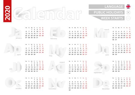 Calendar for 2020 year in english language, gray vector calendar. 2020 vector Calendar. Ilustração