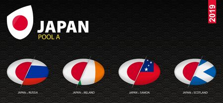 All games of Japan rugby team in pool A stylized as icons. Japan versus: Scotland, Ireland, Russia, Samoa.