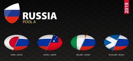 All games of Russia rugby team in pool A stylized as icons. Russia versus: Scotland, Japan, Ireland, Samoa.