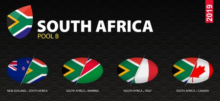 All games of South Africa rugby team in pool B stylized as icons. South Africa versus: New Zealand, Italy, Namibia, Canada.