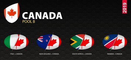 All games of Canada rugby team in pool B stylized as icons. Canada versus: New Zealand, South Africa, Namibia, Italy. Ilustração