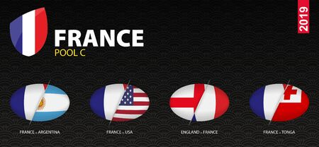 All games of France rugby team in pool C stylized as icons. France versus: England, Argentina, USA, Tonga.