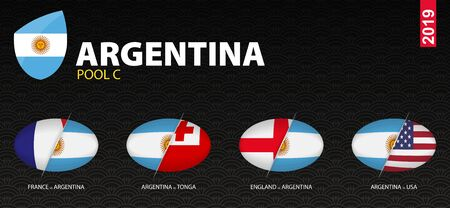 All games of Argentina rugby team in pool C stylized as icons. Argentina versus: France, England, USA, Tonga. Imagens - 129152344