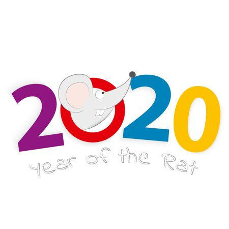 2020 year of the Rat, number 2020 with head of a rat. Vector illustration. Ilustração