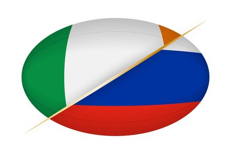 Ireland versus Russia, concept for rugby tournament. Vector flags stylized Rugby ball.