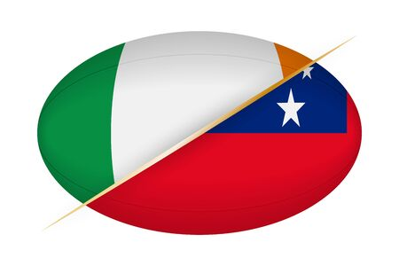 Ireland versus Samoa, concept for rugby tournament. Vector flags stylized Rugby ball.