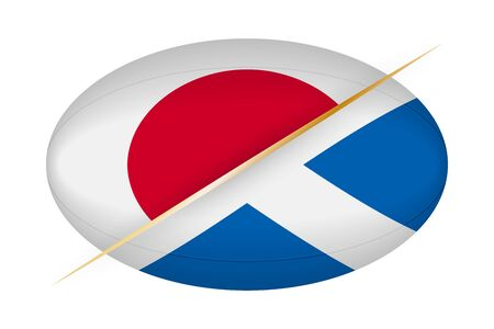 Japan versus Scotland, concept for rugby tournament. Vector flags stylized Rugby ball. Ilustração