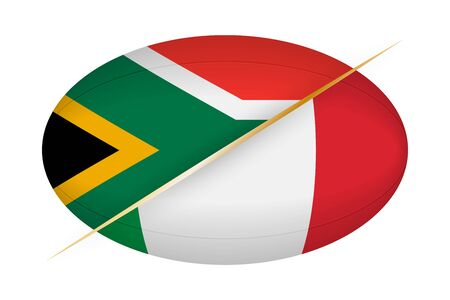 South Africa versus Italy, concept for rugby tournament. Vector flags stylized Rugby ball. Ilustração