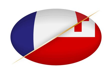 France versus Tonga, concept for rugby tournament. Vector flags stylized Rugby ball.