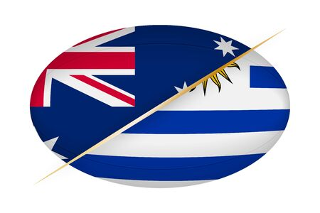 Australia versus Uruguay, concept for rugby tournament. Vector flags stylized Rugby ball.
