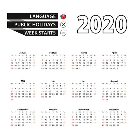 2020 calendar in Slovak language, week starts from Sunday. Vector Illustration. Ilustração