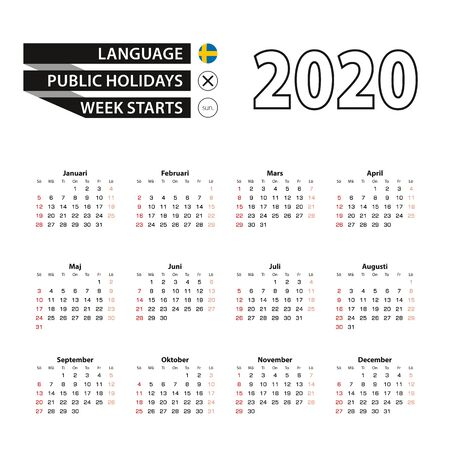 2020 calendar in Swedish language, week starts from Sunday. Vector Illustration.