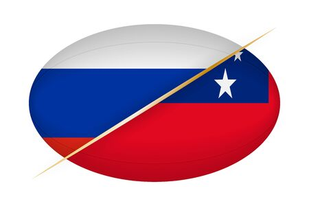 Russia versus Samoa, concept for rugby tournament. Vector flags stylized Rugby ball. Illustration