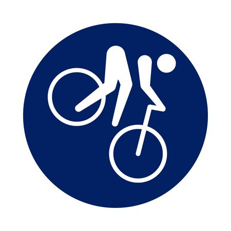 Round Mountain Bike pictogram, new sport icon in blue circle. Vector illustration. Ilustracja