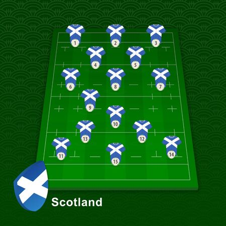 Scotland rugby team player position on rugby field. Vector illustration.