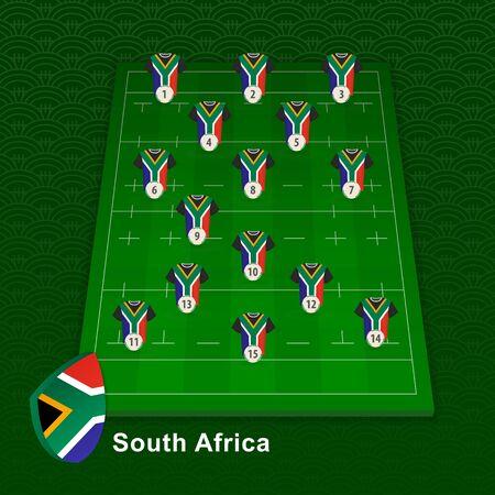 South Africa rugby team player position on rugby field. Vector illustration. Ilustração