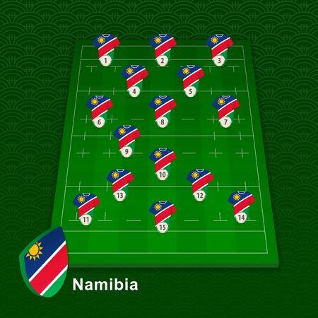 Namibia rugby team player position on rugby field. Vector illustration. Ilustração