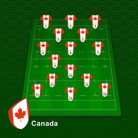 Canada rugby team player position on rugby field. Vector illustration. Ilustração
