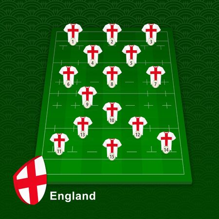 England rugby team player position on rugby field. Vector illustration.