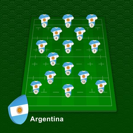 Argentina rugby team player position on rugby field. Vector illustration. Иллюстрация