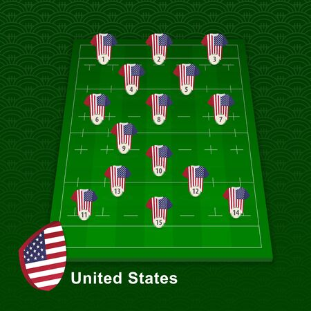 USA rugby team player position on rugby field. Vector illustration.