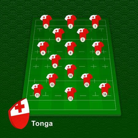 Tonga rugby team player position on rugby field. Vector illustration.