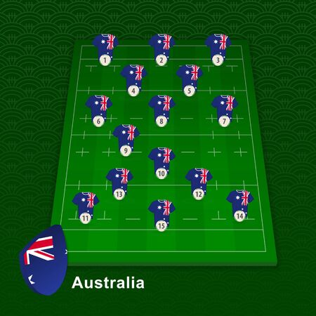 Australia rugby team player position on rugby field. Vector illustration.  イラスト・ベクター素材