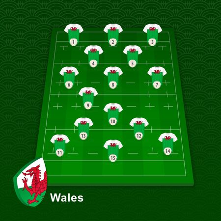 Wales rugby team player position on rugby field. Vector illustration.