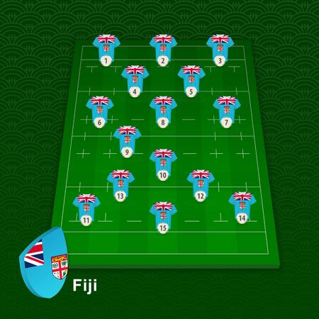 Fiji rugby team player position on rugby field. Vector illustration.
