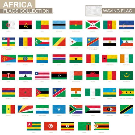 African waving flag collection. Vector illustration. Vettoriali