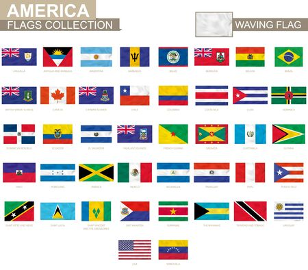American waving flag collection. Vector illustration.