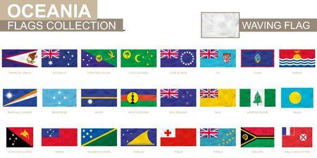 Oceanian waving flag collection. Vector illustration.  イラスト・ベクター素材
