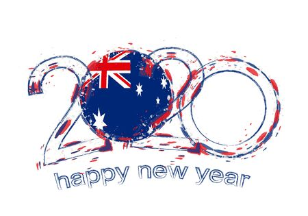 Happy New 2020 Year with flag of Australia. Holiday grunge vector illustration.